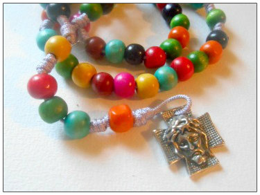 Rainbow Knotted Cord Rosary Beads with Faith