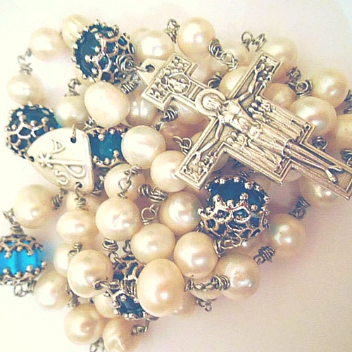 chi rho san damiano pearl and blue glass bespoke design rosary beads with f