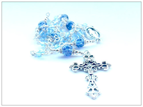 blue gate of heaven rosary beads with faith