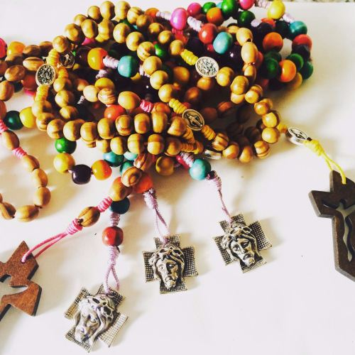 wooden rosar beads with faith selection