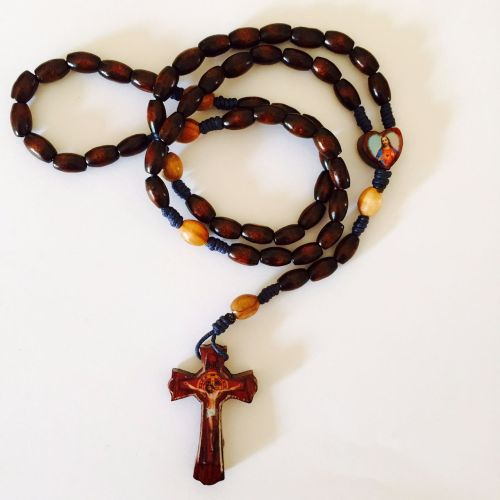 Knotted Cord Rosary Beads - Dark wood & Olivewood Beads with Rosewood Centr
