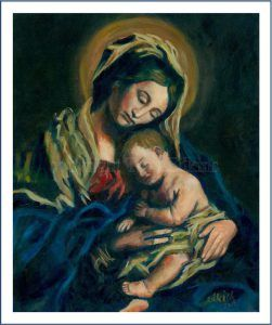 Madonna and Child original oil Troy Edkins
