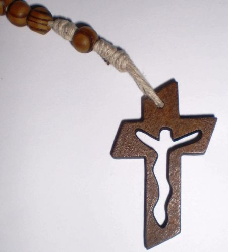 wooden hemp rosary beads with faith