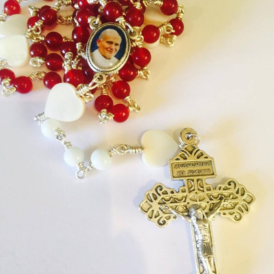 Saint John Paul II Rosary Beads with Faith red jade opaque glass and Mother