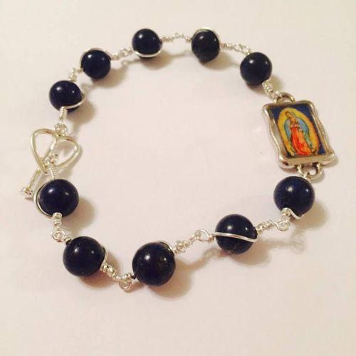 Virgin of Guadalupe Rosary Bracelet - Lapis Lazuli