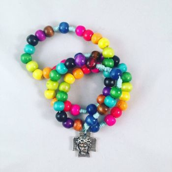 Knotted Cord Rosary Beads - Rainbow Coloured