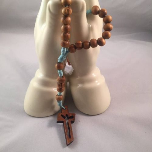 Knotted Cord Rosary Beads - Burlywood Pale Blue