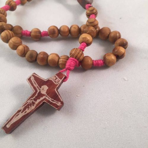 Knotted Cord Rosary Beads Pink - burlywood beads Rosewood Centre and Crucif
