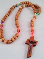 Knotted Cord Rosary Beads - Burlywood Rainbow