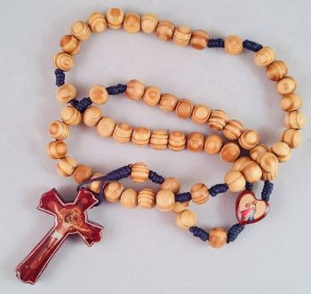 Knotted Cord Rosary Beads - Dark wood & Olivewood Beads with Rosewood Centre and Crucifix
