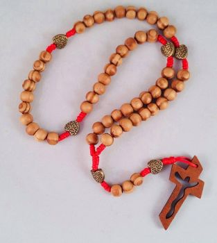 Knotted Cord Rosary Beads - Burly Wood and Brass Heart