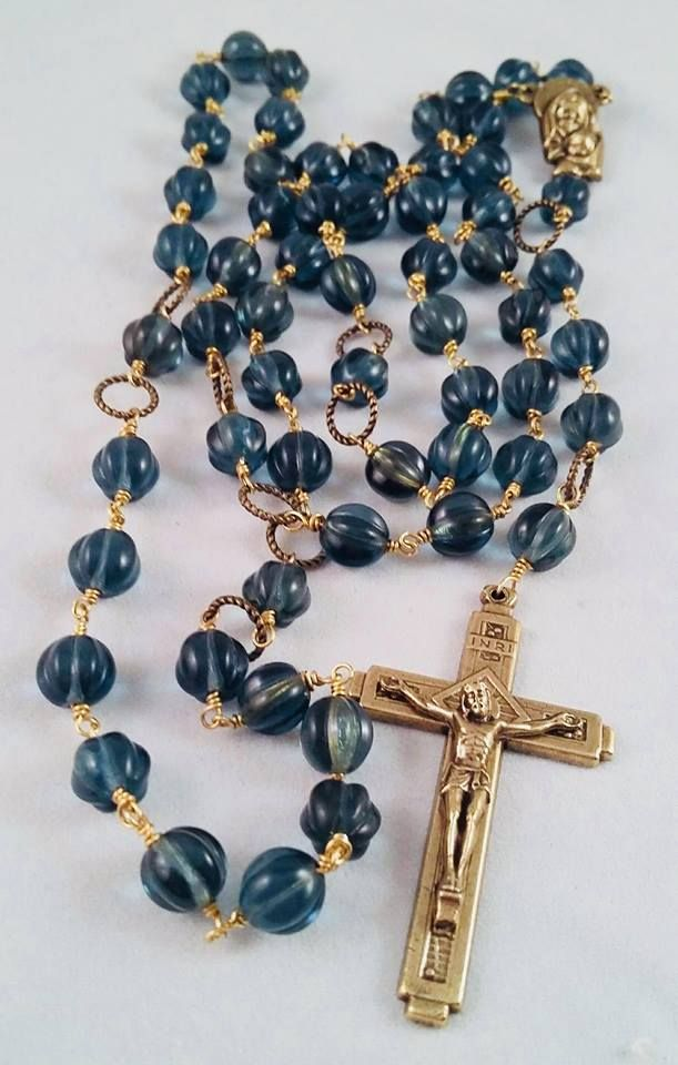Virgin Most Merciful -  Montana Blue Czech Pressed Glass Rosary Beads