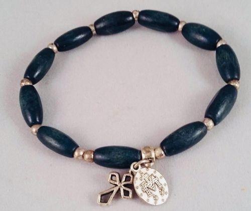 Miraculous Medal blue wooden Stretch Bracelet