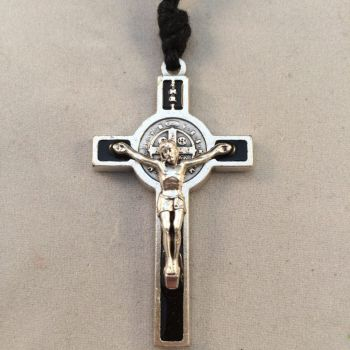 Saint Benedict Crucifix on Black Cord - Black Enamel