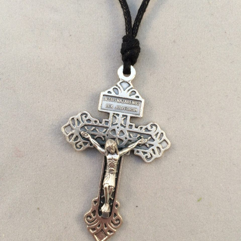 Pardon Crucifix on Black Cord
