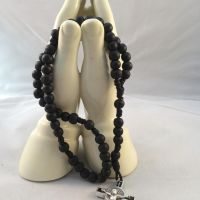 Saint Benedict Black Wooden Rosary Beads - BLack Crucifix