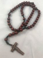 Simple Dark Brown  Wooden Rosary Beads - Brass Crucifix