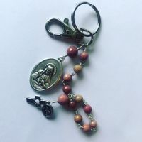 Rosary and Scapular Decade Keychain - Rhodonite
