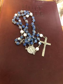 Saint Benedict Sodalite wire wrapped Rosary Beads