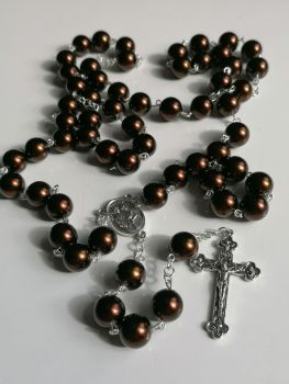 Wall Rosary - Bronze acrylic pearl 12mm beads