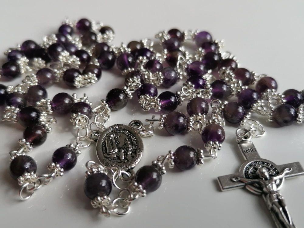 Artisan Amethyst Fatima Rosary and Bracelet set - Amethyst