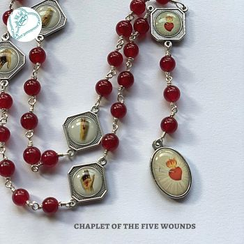 Chaplet of the Five Wounds - red jade