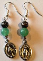Miraculous Medal Earings - Green Aventurine