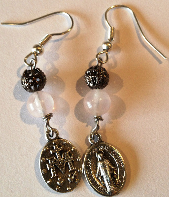 Miraculous Medal Earings - rose quartz