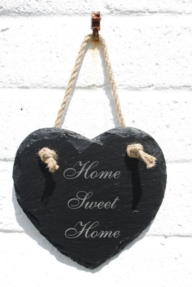 Laser Engraved Slate Hanging Hearts