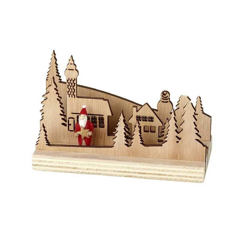 Wooden Scene with Santa