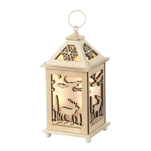 Wooden light-up Lantern with Stag