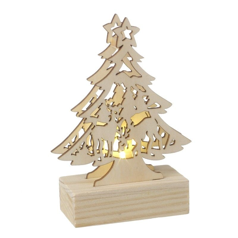 Wooden LED Light-up Christmas Tree