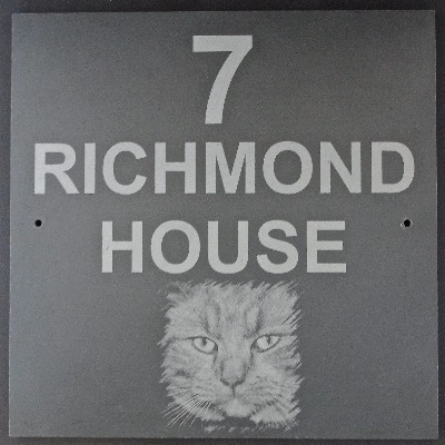 Slate House Sign Square with Photo