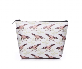 Cream Bird Print Make Up Bag
