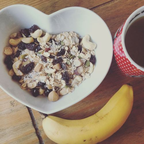 breakfast homemade muesli nuts banana green tea - lylia rose uk food blog h