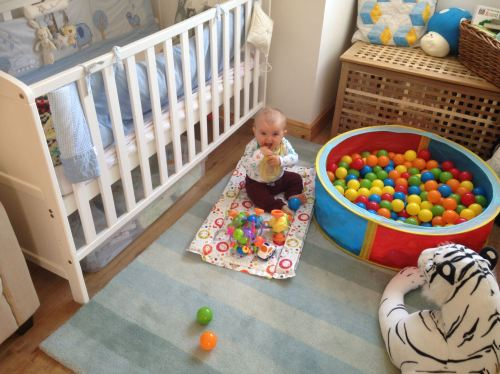 Reuben 7 Months Bedroom Ball Pit Boy Teething - Lylia Rose UK Family Lifestyle Blog