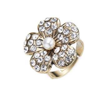 Gold Faux Pearl & Crystal Flower Ring