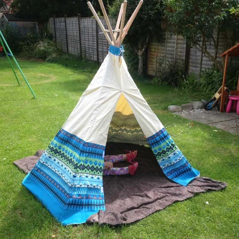 garden games aztec blue wigwam teepee tent play den - lylia rose uk lifesty