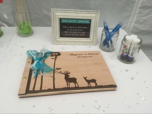 Garden Wedfest Homemade DIY Wedding Photos Blog wooden engraved personalised guestbook stags
