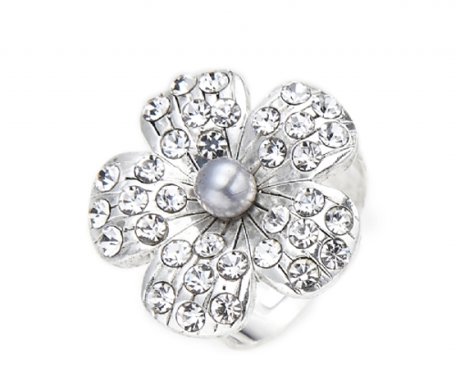 Silver Faux Pearl & Crystal Flower Ring