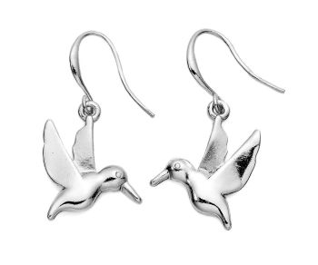 Matte Silver Bird Earrings