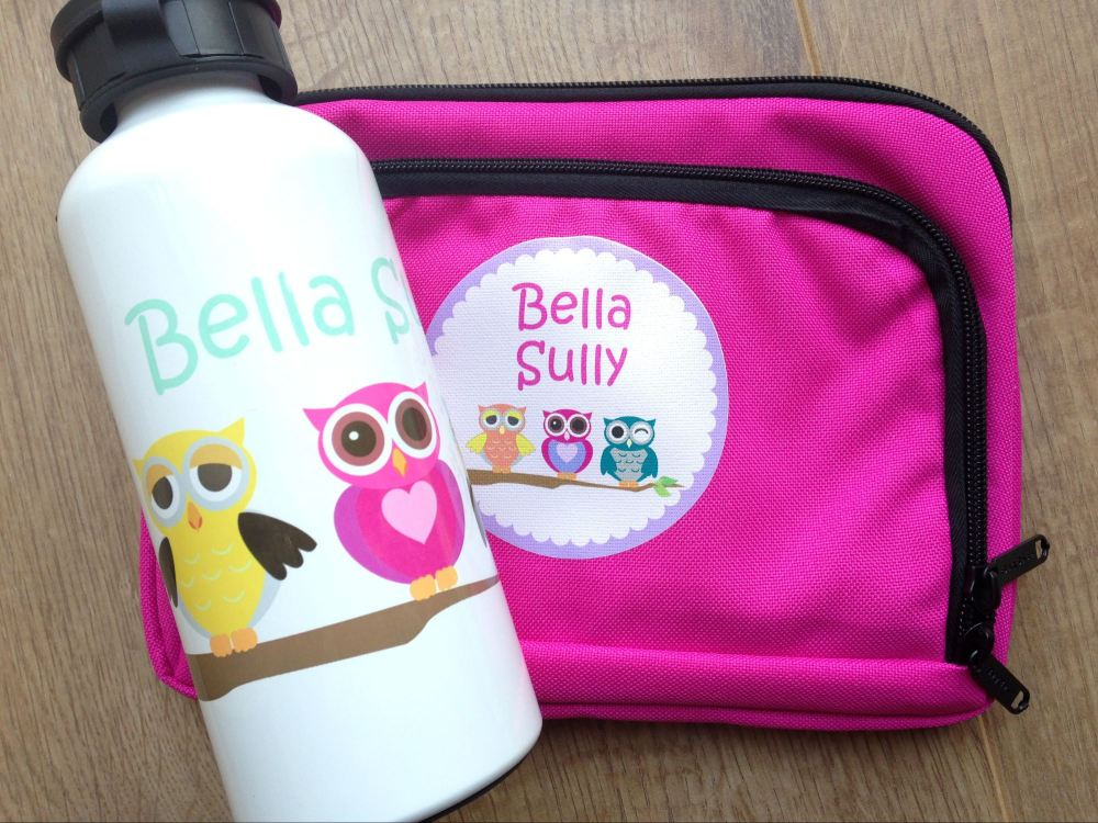 name it labels personalised pencil case girls pink owls water bottle lylia