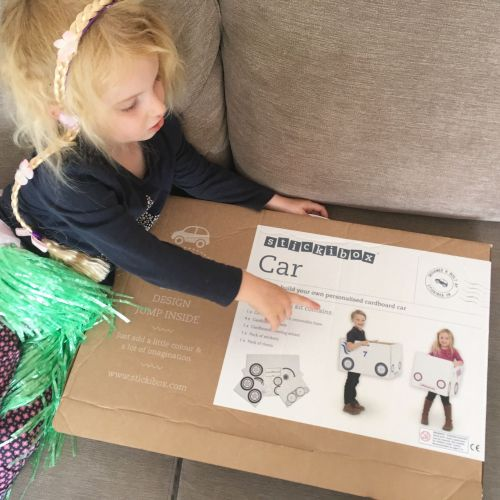 Stickibox Review - Cardboard Car Kit - Lylia Rose UK lifestyle family parenting kids blog