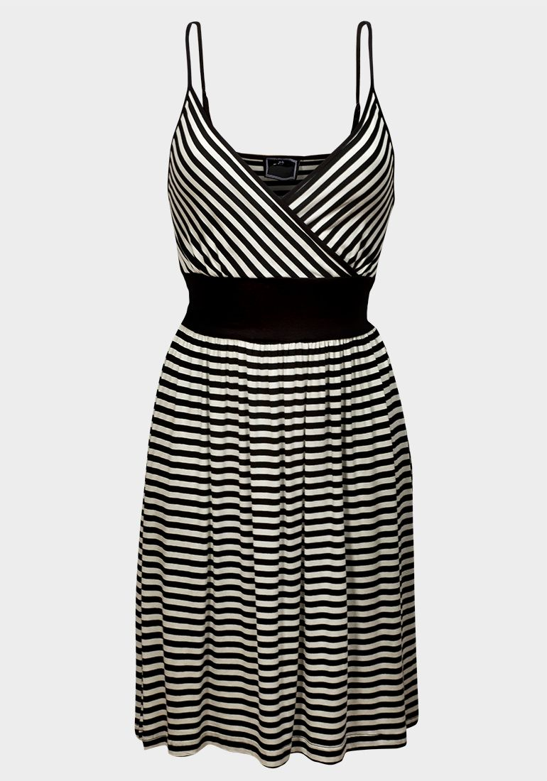 Size L Black & White Stripey Strappy Dress (Ex Clockhouse at C&A)