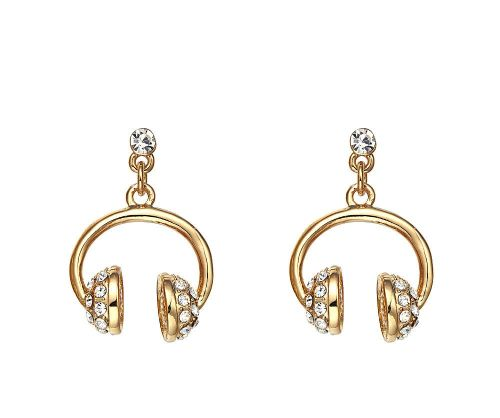 18ct Gold Plated Headphone Earrings
