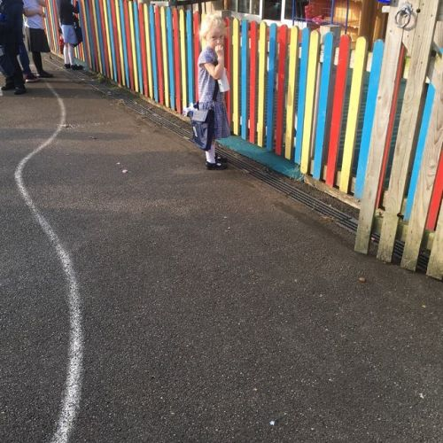 bella queues at school gates for first time back to school reception class