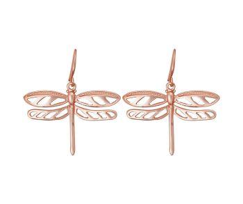 Matt Rose Gold Dragonfly Earrings