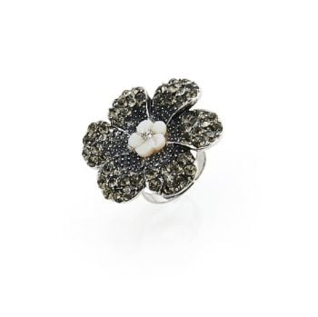 Adjustable Diamante Flower Statement Ring
