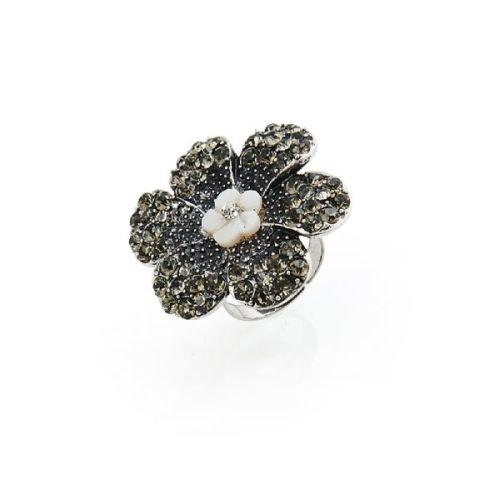 Adjustable Diamante Flower Statement Ring