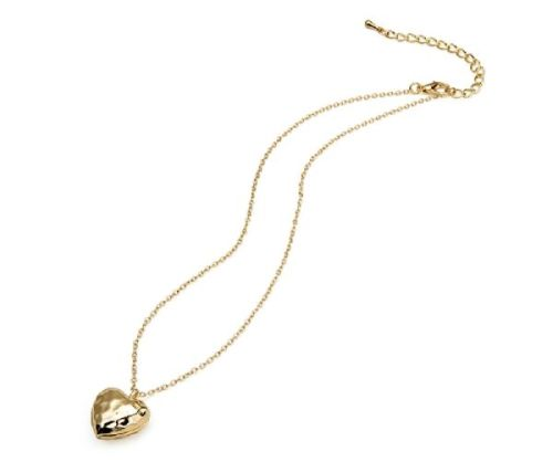 Gold Embossed Heart Necklace